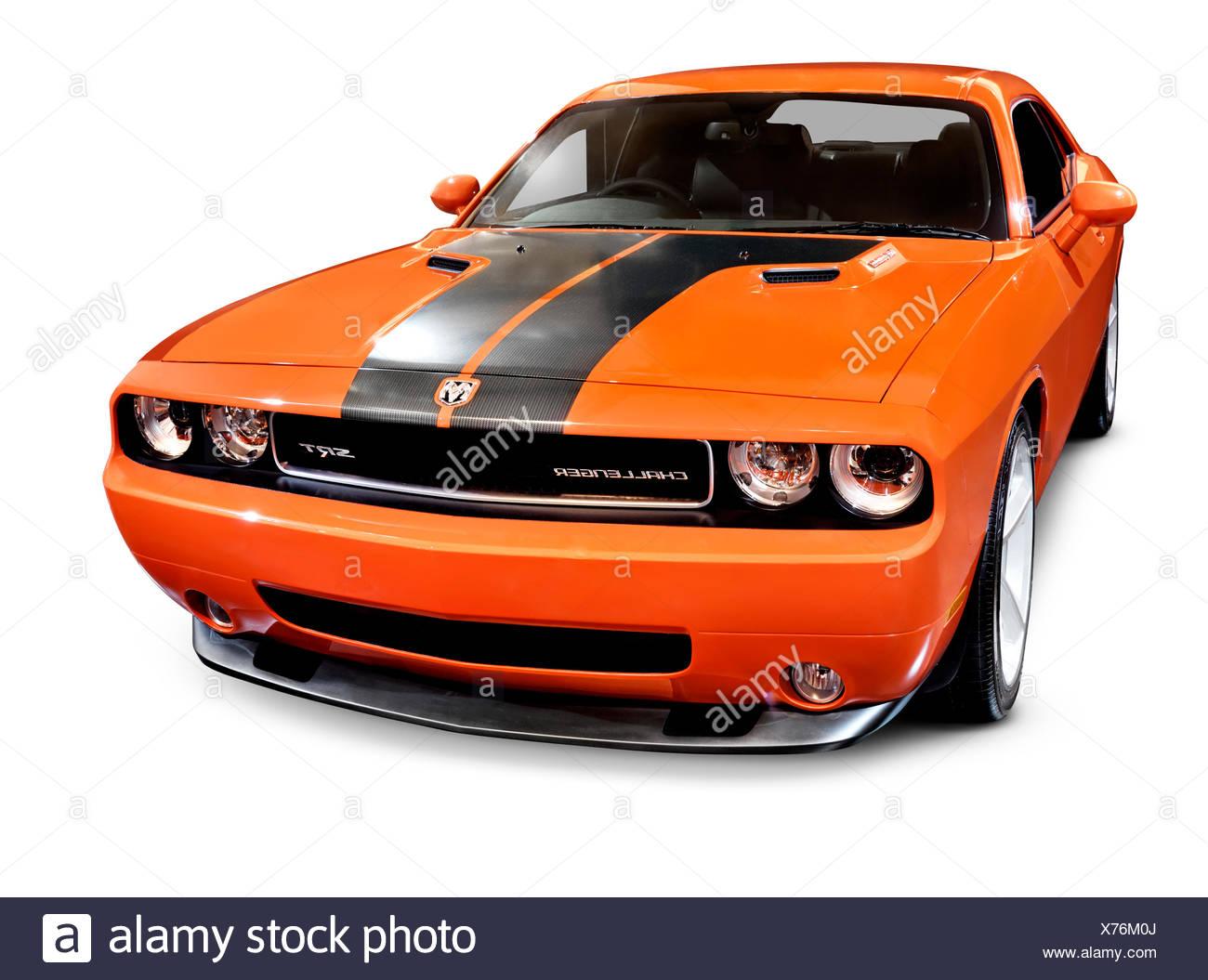 Orange 2008 Dodge Challenger SRT muscle car. Isolated on white ...