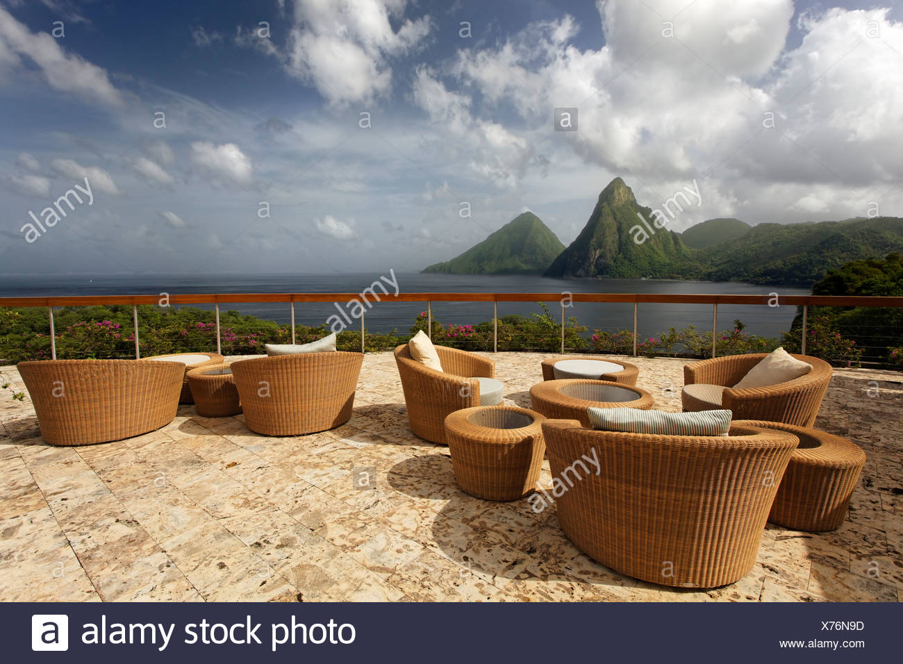 Roof terrace, Dedon, furniture, natural stone floor, hemisphere, Pitons mountains, Jade Mountain luxury hotel, Saint Lucia - Stock Image