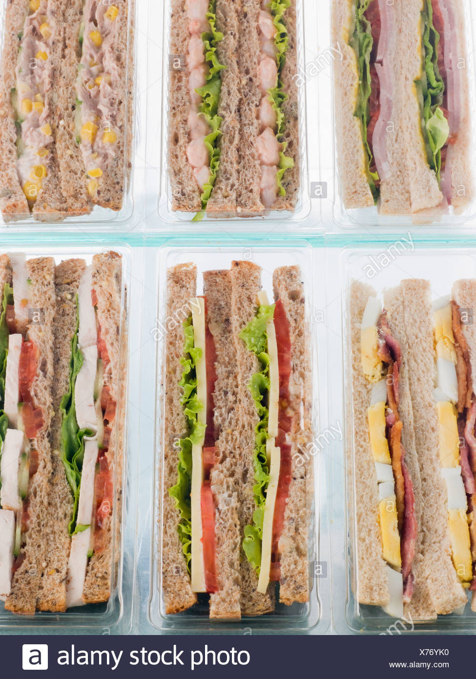 Selection Of Take Away Sandwiches In Plastic Triangles - Stock Image