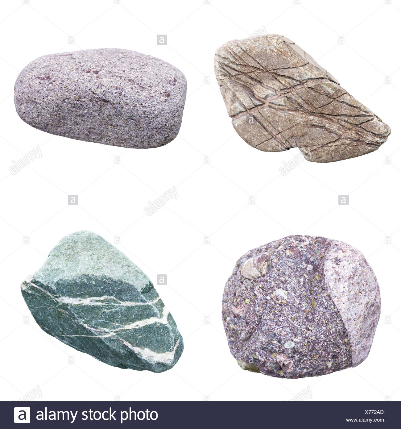 set of four minerals on a white background - Stock Image