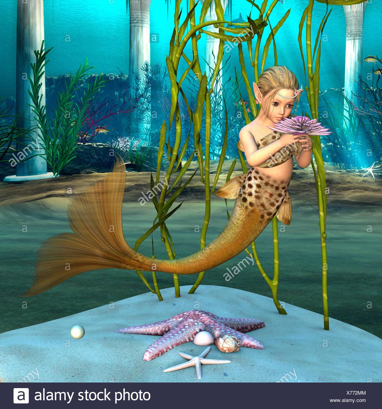 3D Digital Render Of A Cute Little Mermaid Holding Purple Anemone Floweron Blue Fantasy Ocean