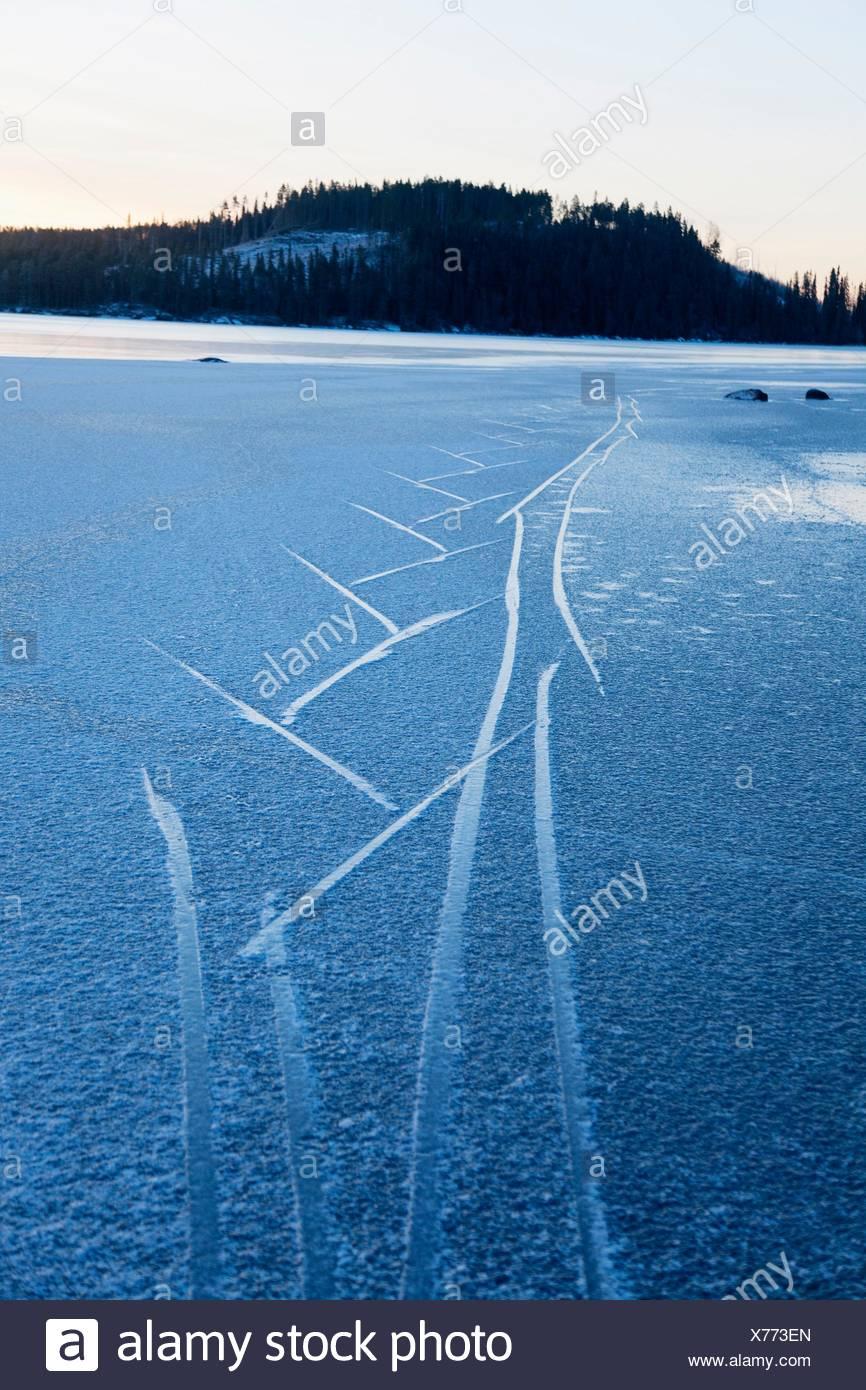 Frozen lake Northern Sweden. - Stock Image
