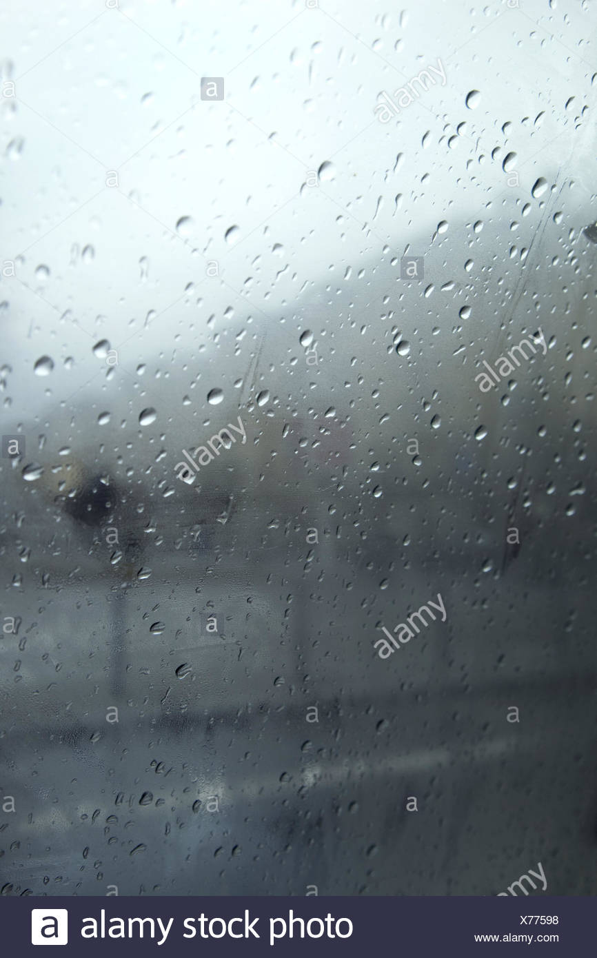 Window pane, raindrop, slice, rain, drop, outside, background, slice, nobody, - Stock Image