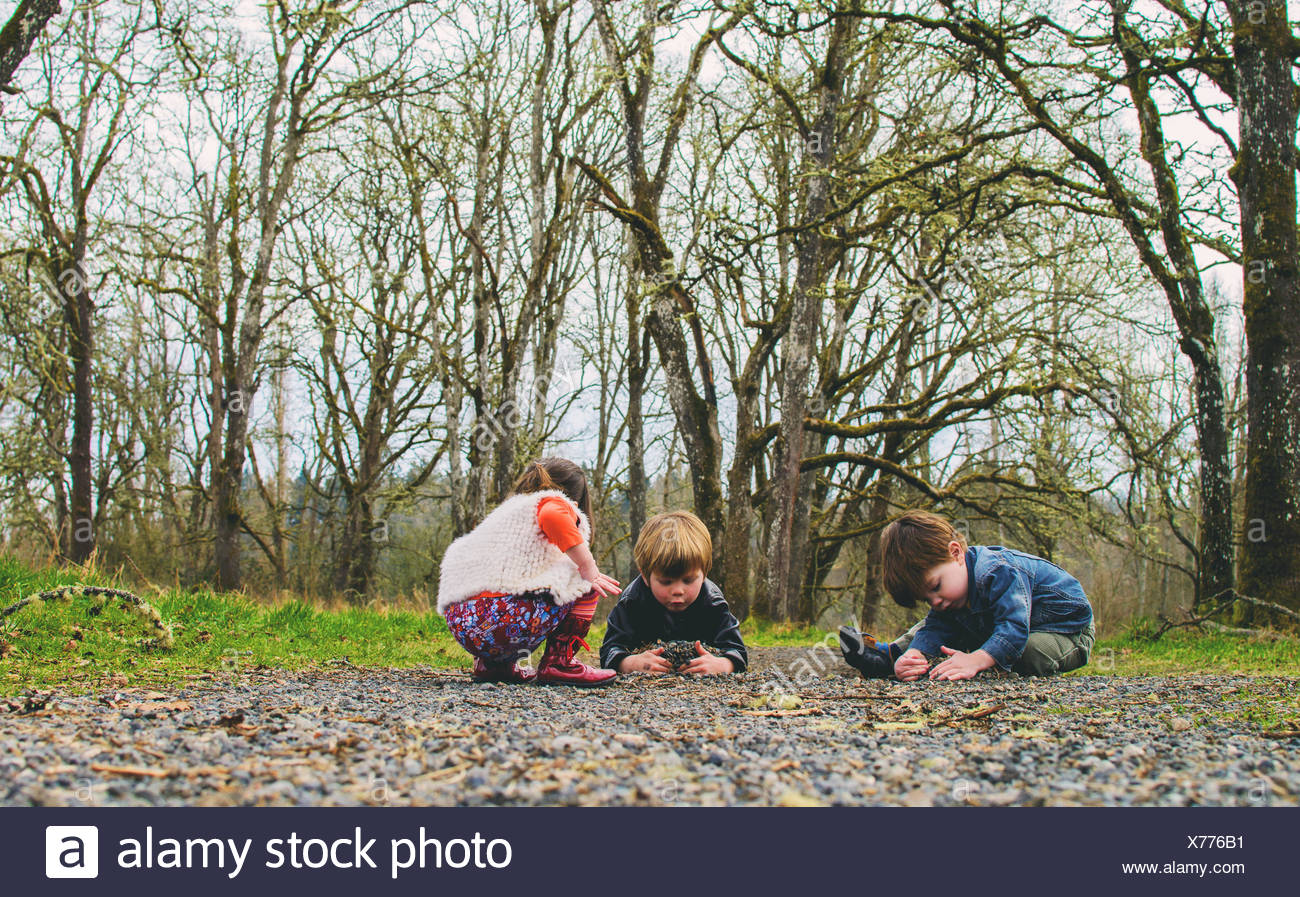 Three ( 2-3, 4-5 ) children playing in countryside - Stock Image