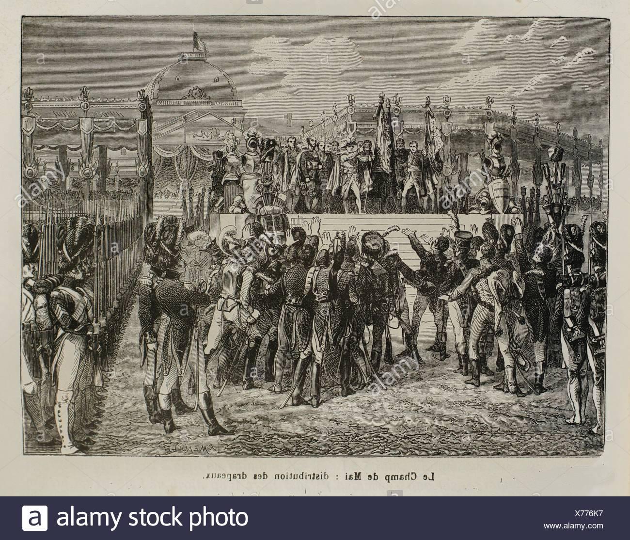 France, History, 19th Century - Le Champ de Mai: distribution des drapeaux - Stock Image
