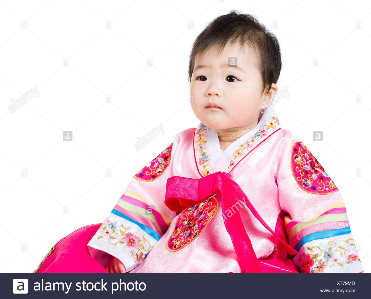 Asian Baby Girl Wear Traditional Korean Hanbok Stock Photo