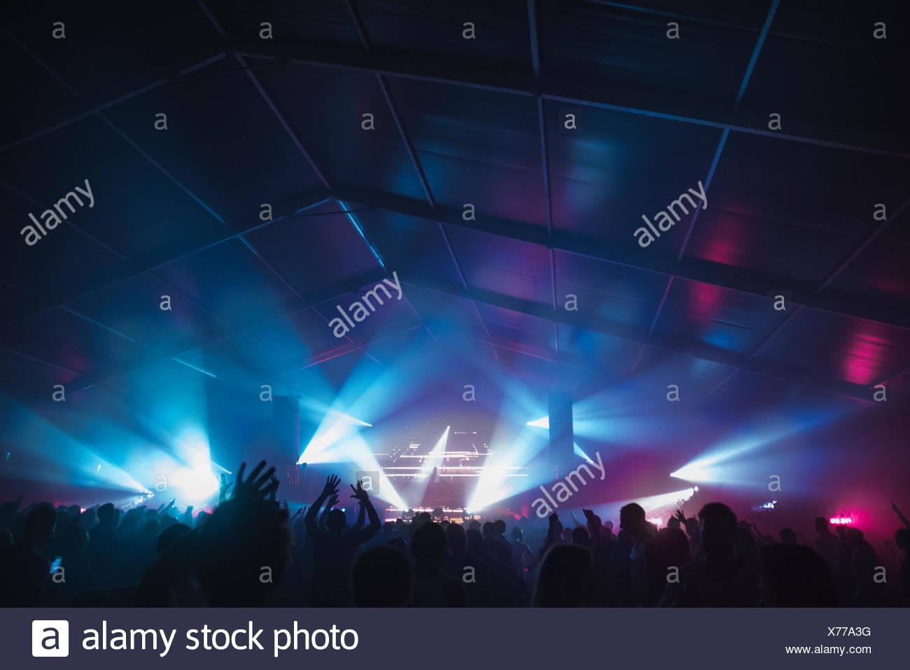Finland, Uusimaa, Helsinki, Cheering audience at Summer Sound Festival - Stock Image