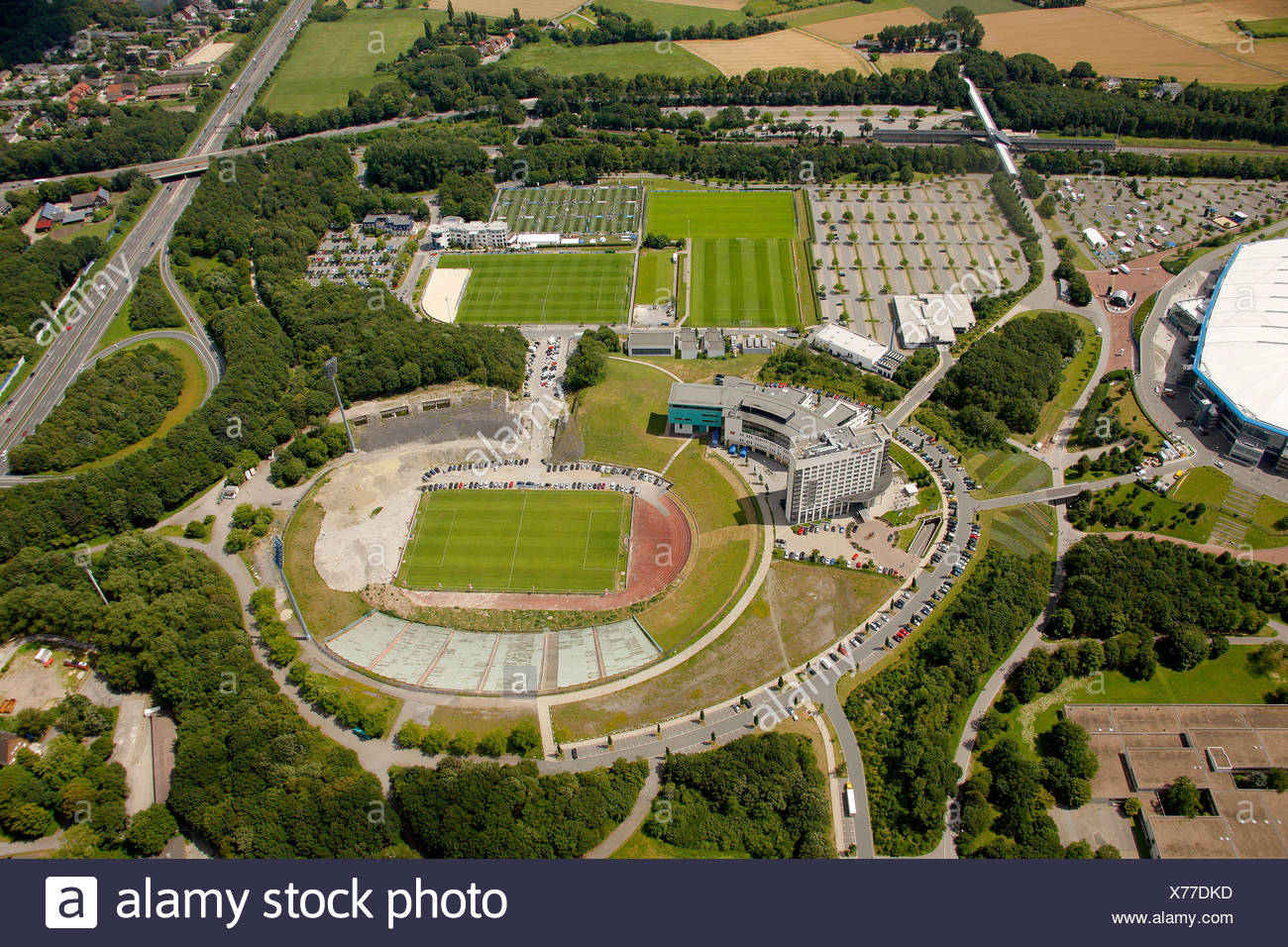 Aerial view, Schalke Arena, S04, football pitches, Gelsenkirchen, Ruhr Area, North Rhine-Westphalia, Germany, Europe - Stock Image