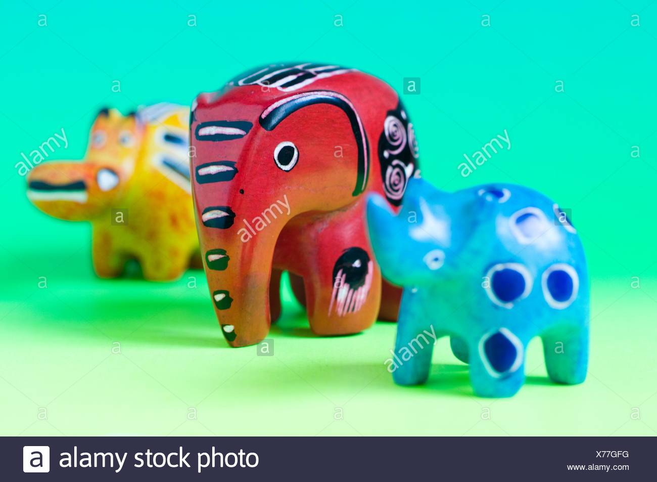 carved miniature soapstone novelty african animal figures Stock Photo