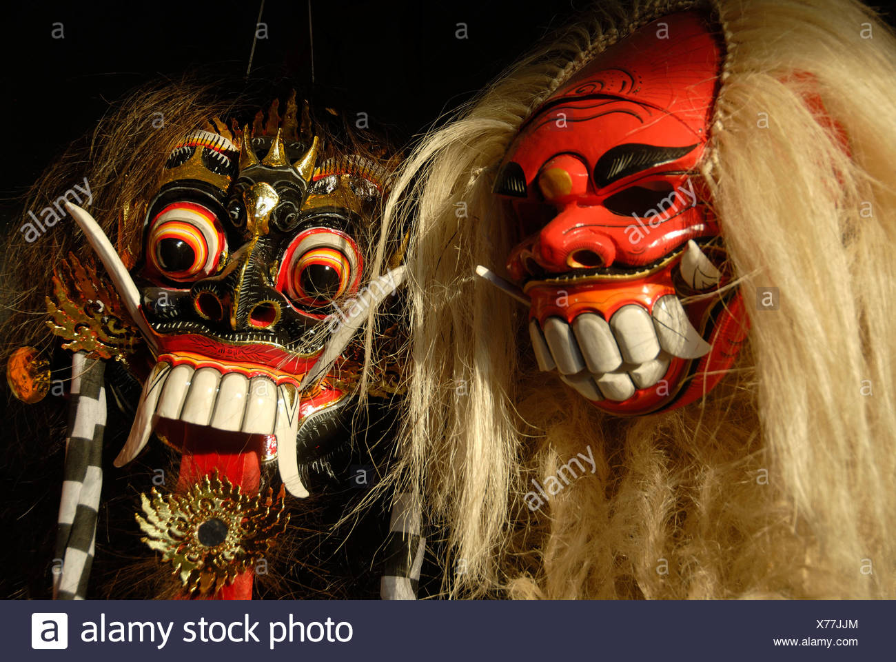 Arts and culture, Barong and Rangda masks, terrible mystical mythical creatures, Ubud, Bali, Indonesia, Southeast Asia, Asia - Stock Image