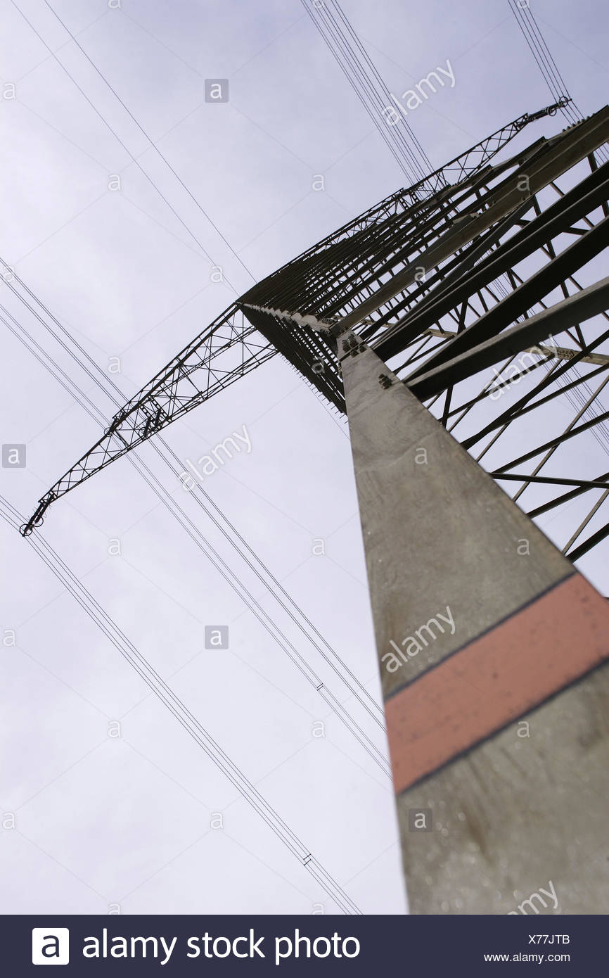 High-voltage poles, from below, power poles, masts