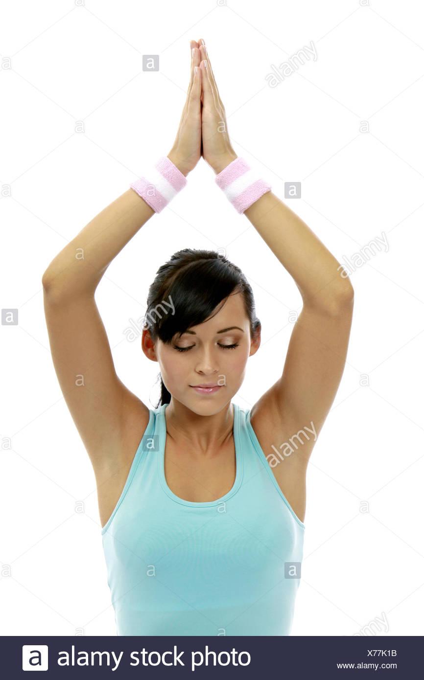 Frau Jung Yogauebung Innen Yoga Meditieren Meditation Gesundheit Wellness Entspannung Erholung Entspannen Erholen Ausgeglichen A Stock Photo