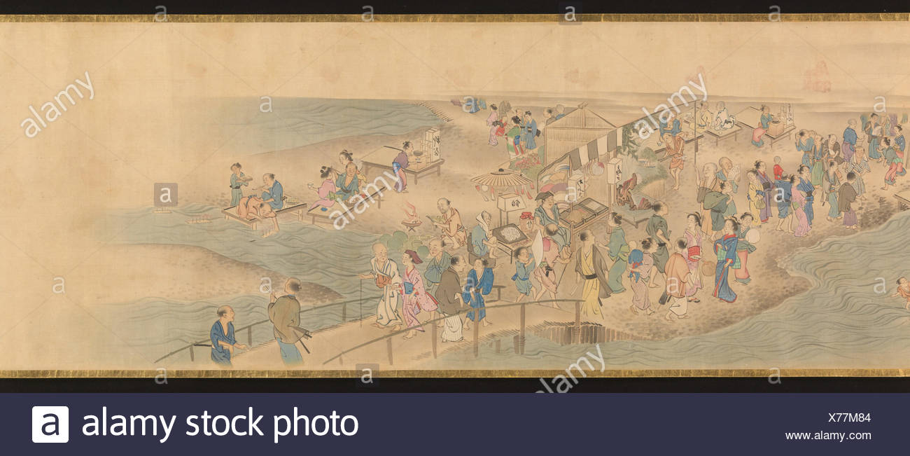 華洛四季遊楽図巻/Scenes of the Four Seasons in Kyoto. Artist: Genki (Komai Ki) (Japanese, 1747-1797); Period: Edo period (1615-1868); Date: - Stock Image