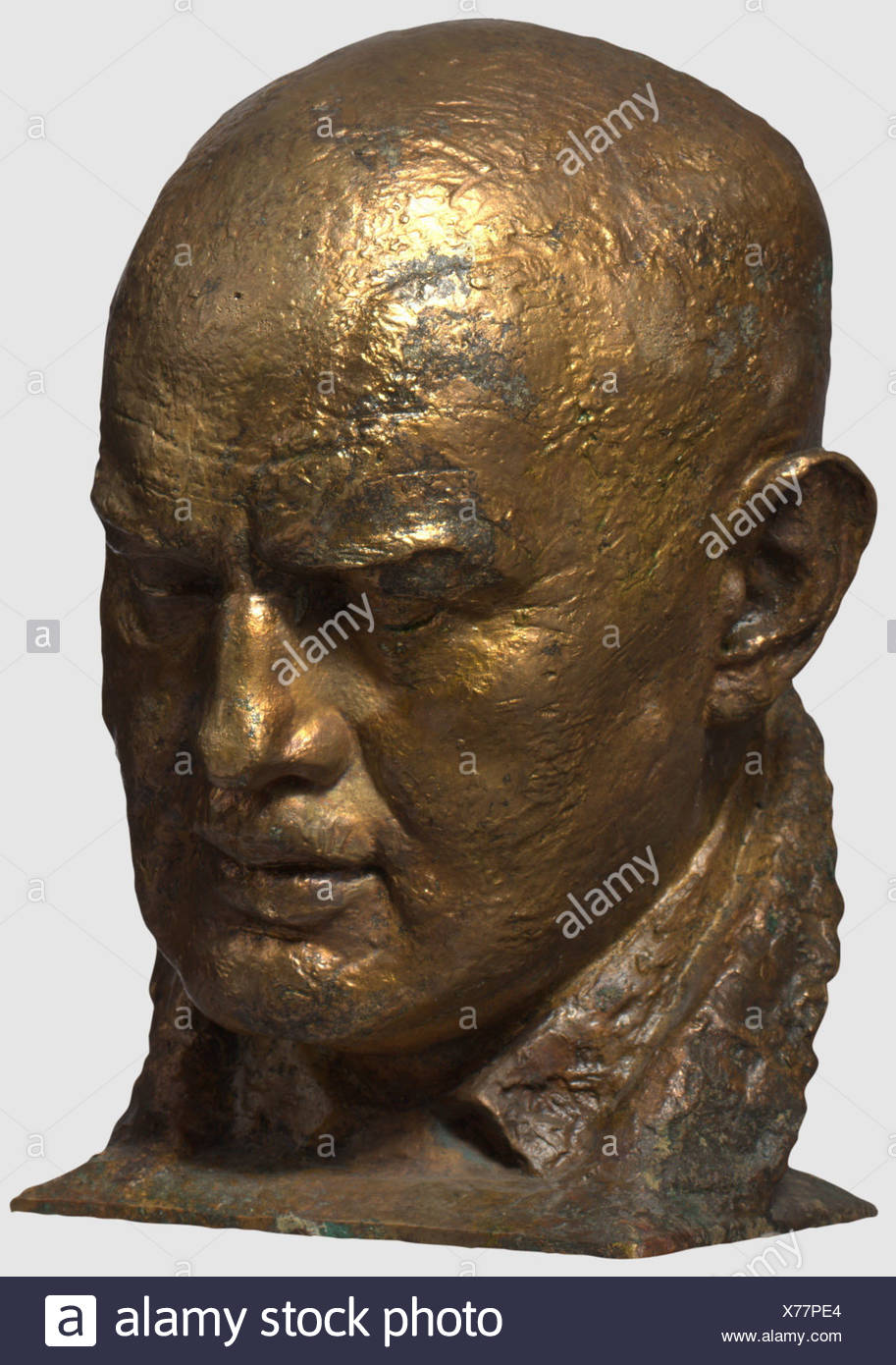 Dietrich Eckart (1868 - 1923), a portrait bust of Ferdinand Liebermann Bronze with partially preserved gold bronzing, archaeological find. The base signed 'Ferdinand Liebermann'. Height ca. 33.5 cm. The present bust is supposedly a work made specifically for Hitler to be displayed in the large hall of the Berghof, it was found in the late 1990s slightly above the Berghof. It is said that Frieda Ewert, a woman working there, recovered the bust after the bombardment of the Obersalzberg and took it with her, until she lost her strength while crossing a bomb crater, Additional-Rights-Clearances-NA - Stock Image