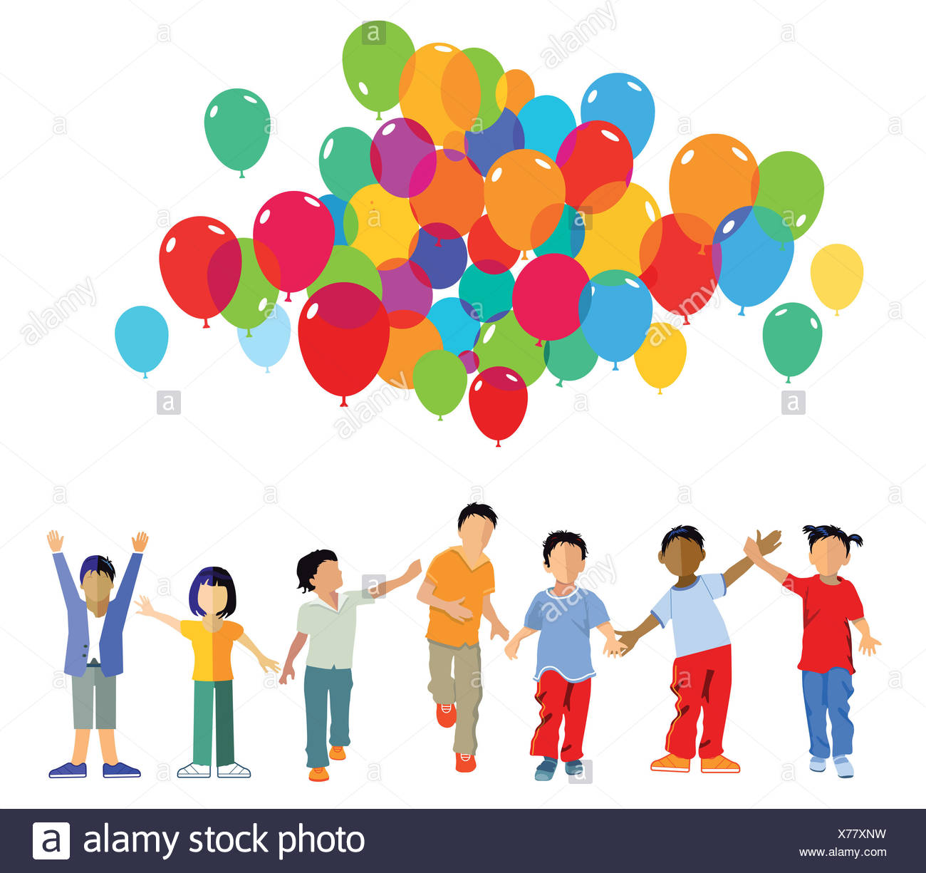 funny kids group with balloons Stock Photo