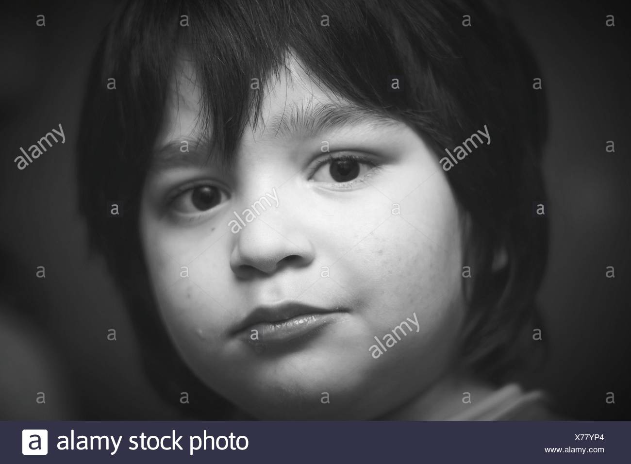 Close-Up Of Cute Boy - Stock Image