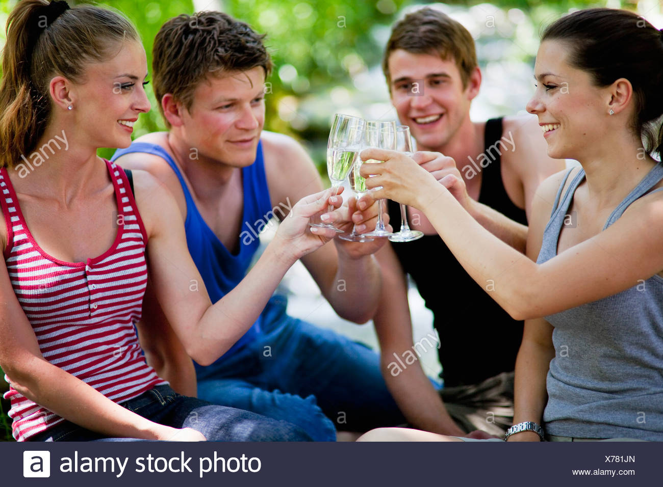 Italy, Tuscany, Friends clinking champagne glasses at picnic - Stock Image