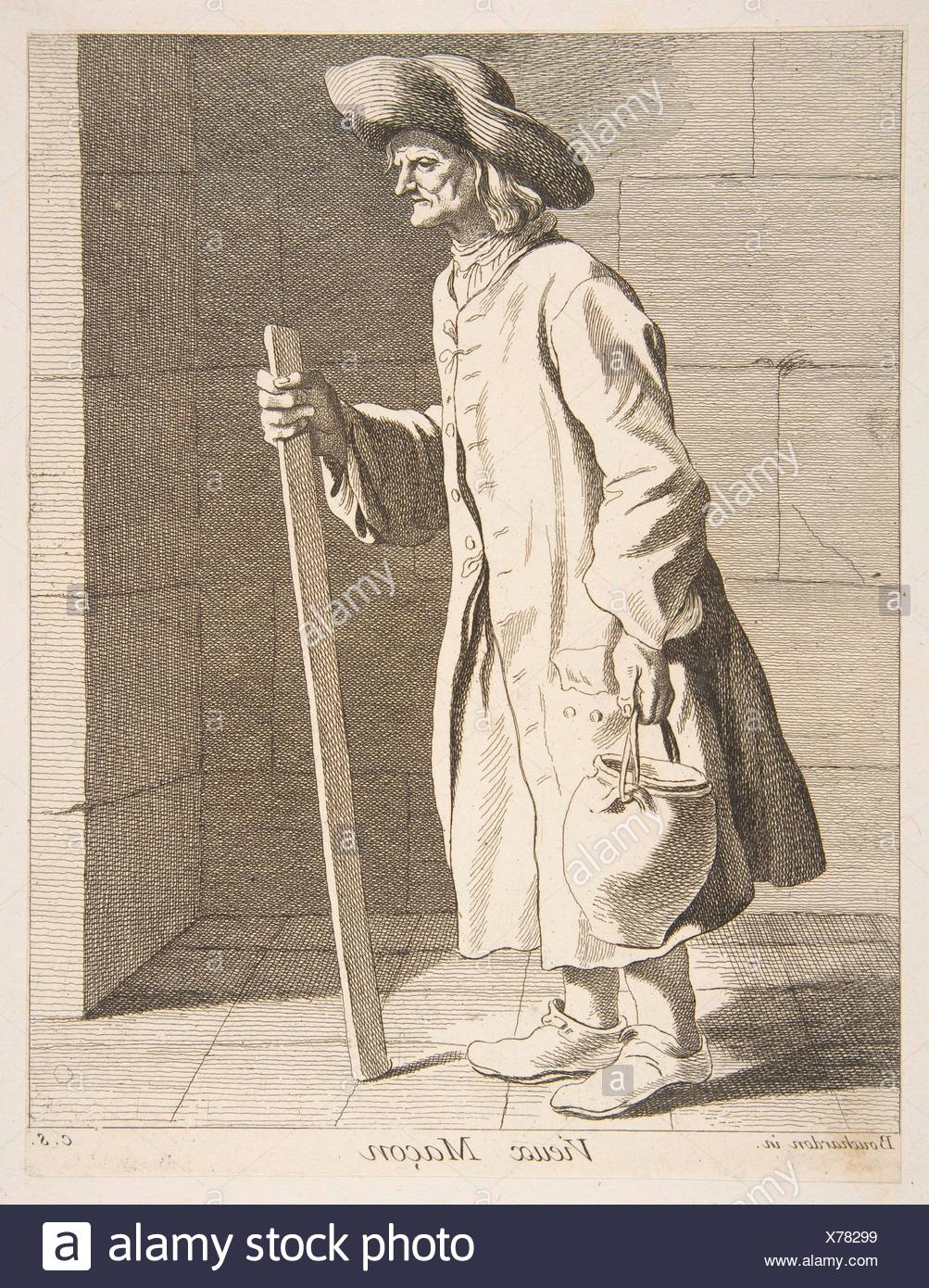 Old Bricklayer. Series/Portfolio: The Cries of Paris: First Set; Artist: Anne Claude Philippe de Tubières, comte de Caylus (French, Paris 1692-1765 - Stock Image