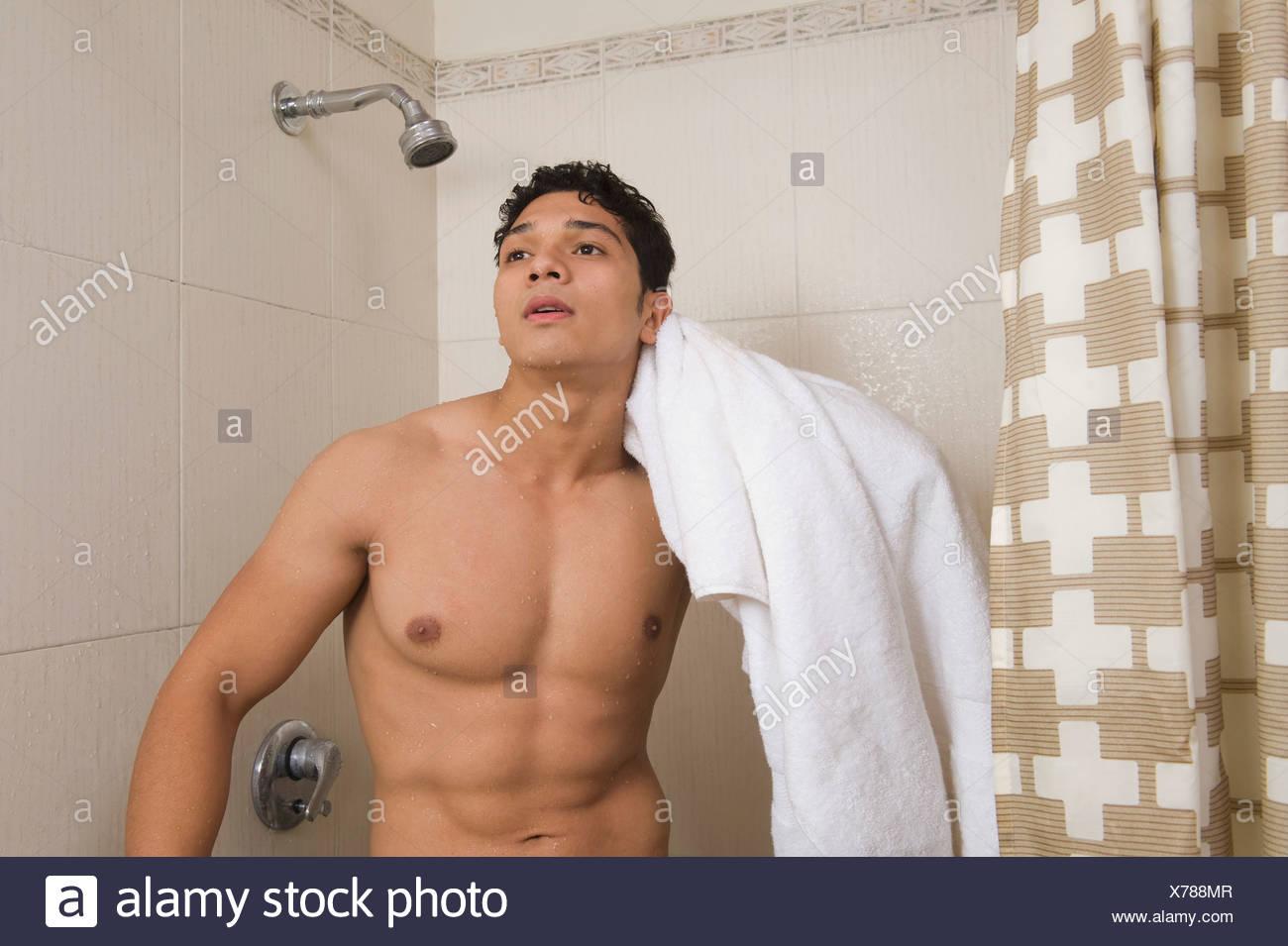 Man Shower Bath Towel Stock Photos & Man Shower Bath Towel Stock ...