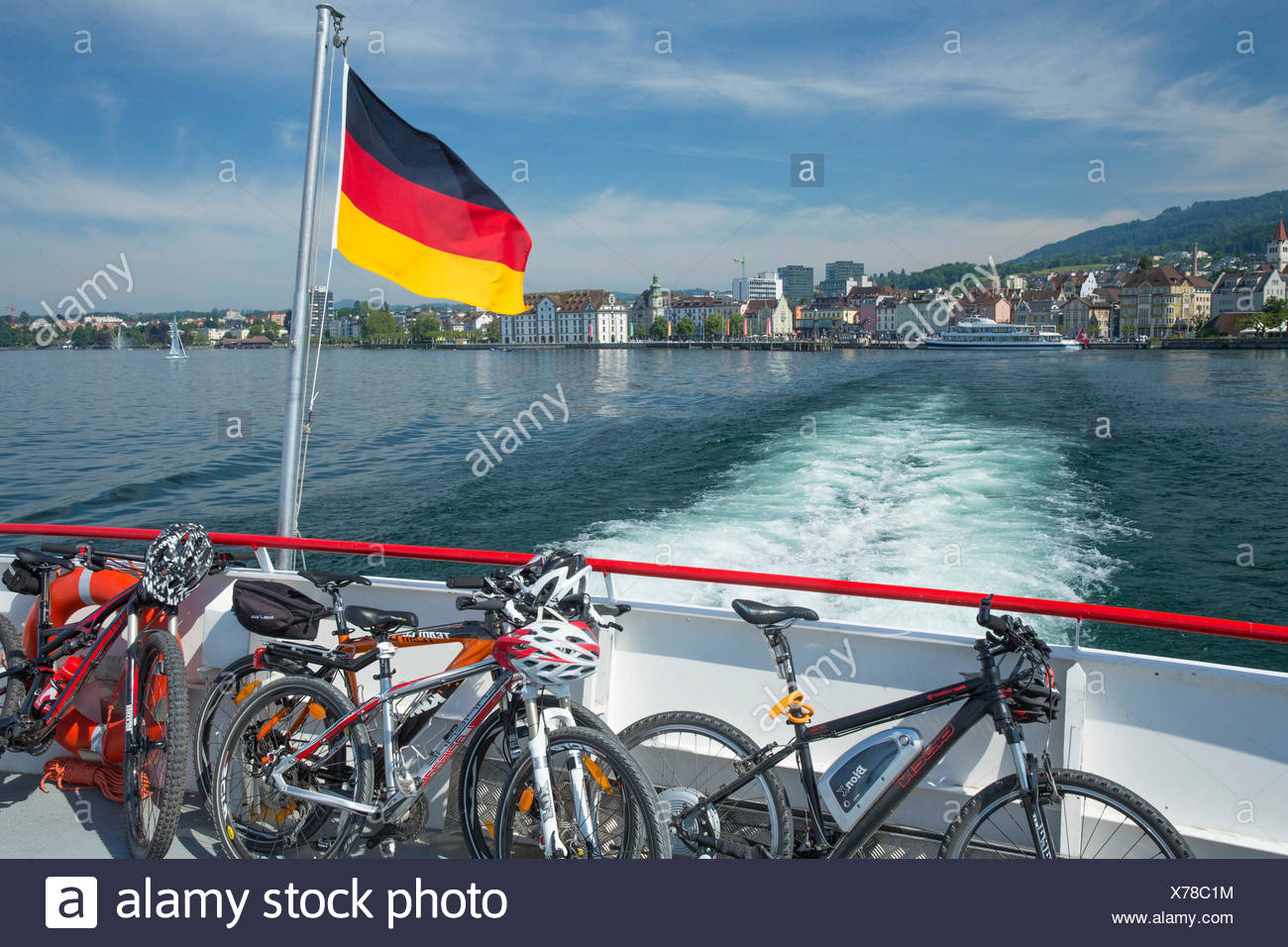 Lake Constance, ship journey, ship, boat, ships, boats, SG, canton St. Gallen, lake, lakes, bicycle, bicycles, bike, riding a bi - Stock Image