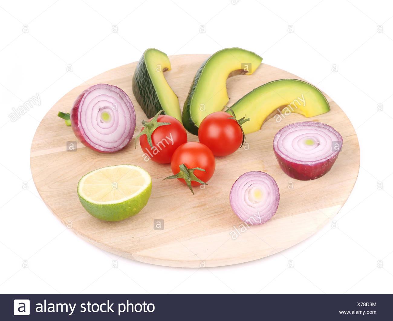 Fresh vegetables on platter. Stock Photo