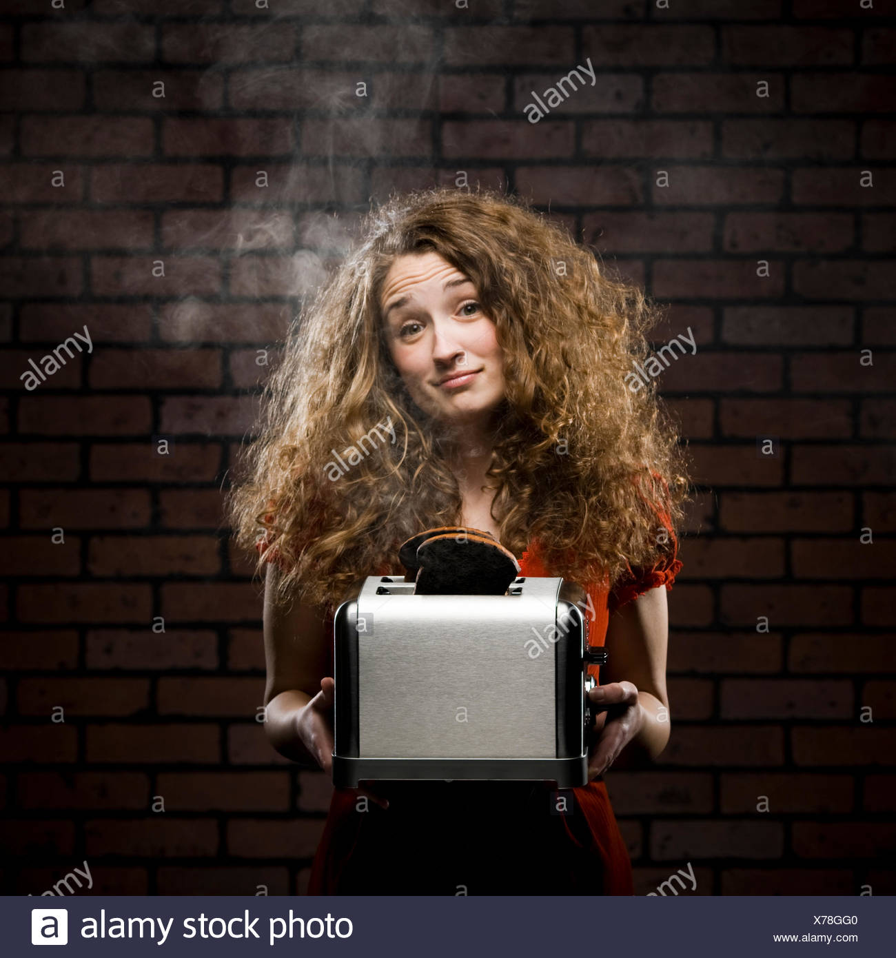 a waked girl with a toaster