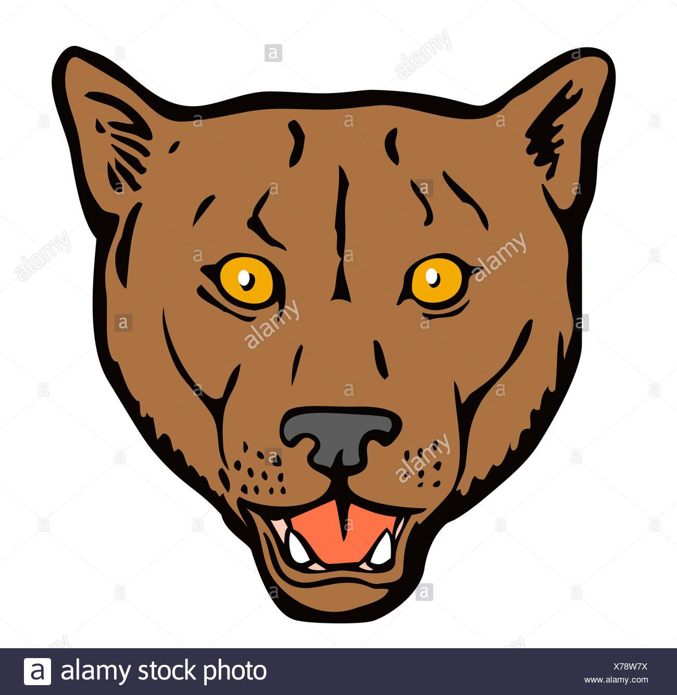 Puma Woodcut Retro - Stock Image