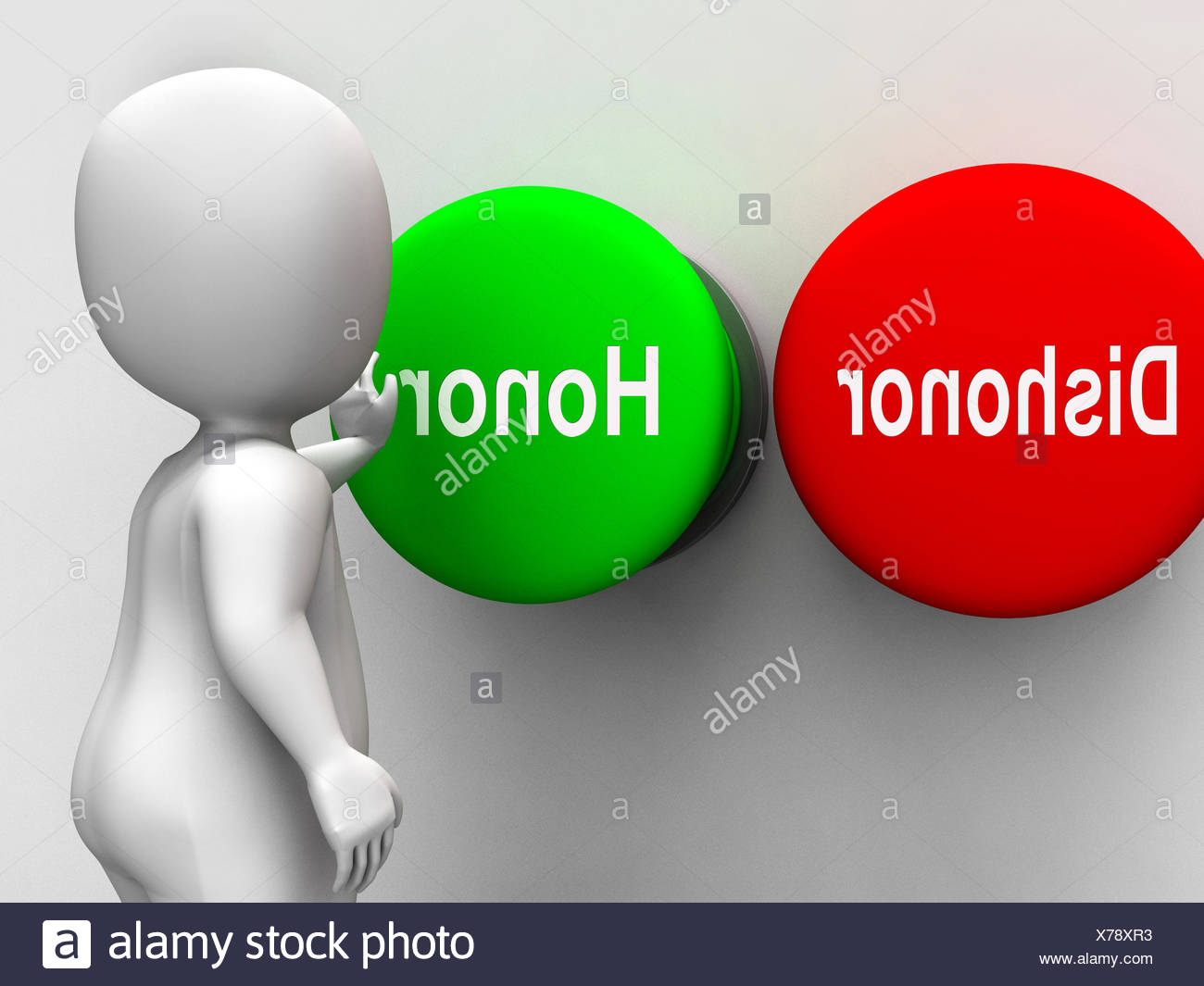 dishonor honor buttons shows integrity and morals stock photo