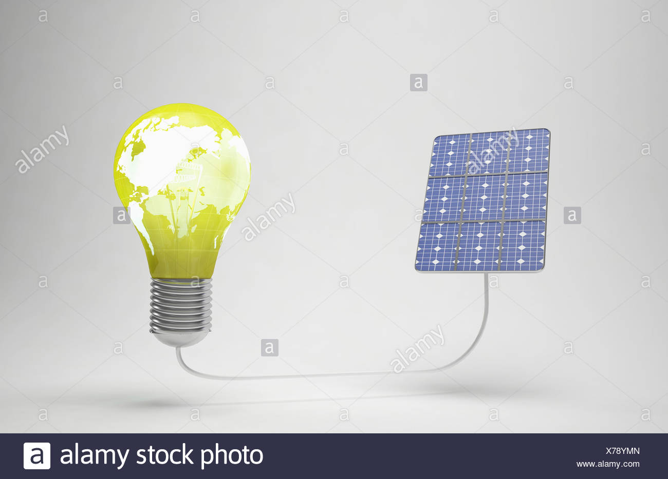 a light bulb connected to a solar panel Stock Photo: 279865845 - Alamy
