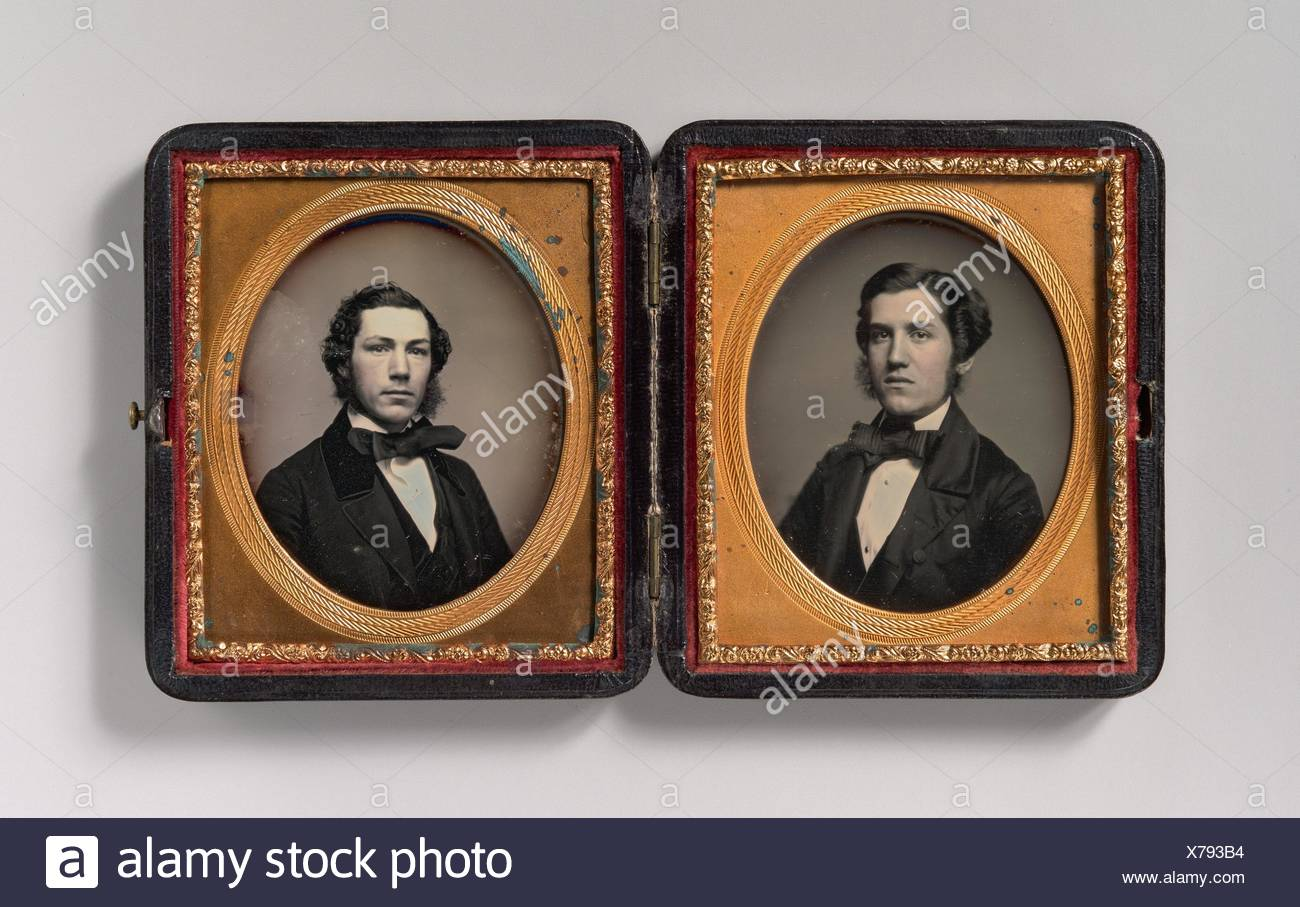 [Double Plate: Two Men with Sideburns]. Artist: Possibly by John Adams Whipple (American, 1822-1891); Date: 1850s; Medium: Daguerreotype; Dimensions: Stock Photo