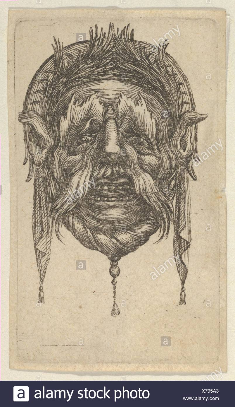Mask with Long Eyebrows and Mustache and a Headdress with Dangling Cloth, from Divers Masques. Series/Portfolio: Divers Masques; Artist: François - Stock Image