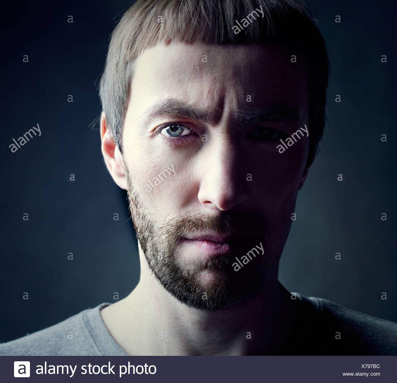 bearded man portrait, lit from the side - Stock Image
