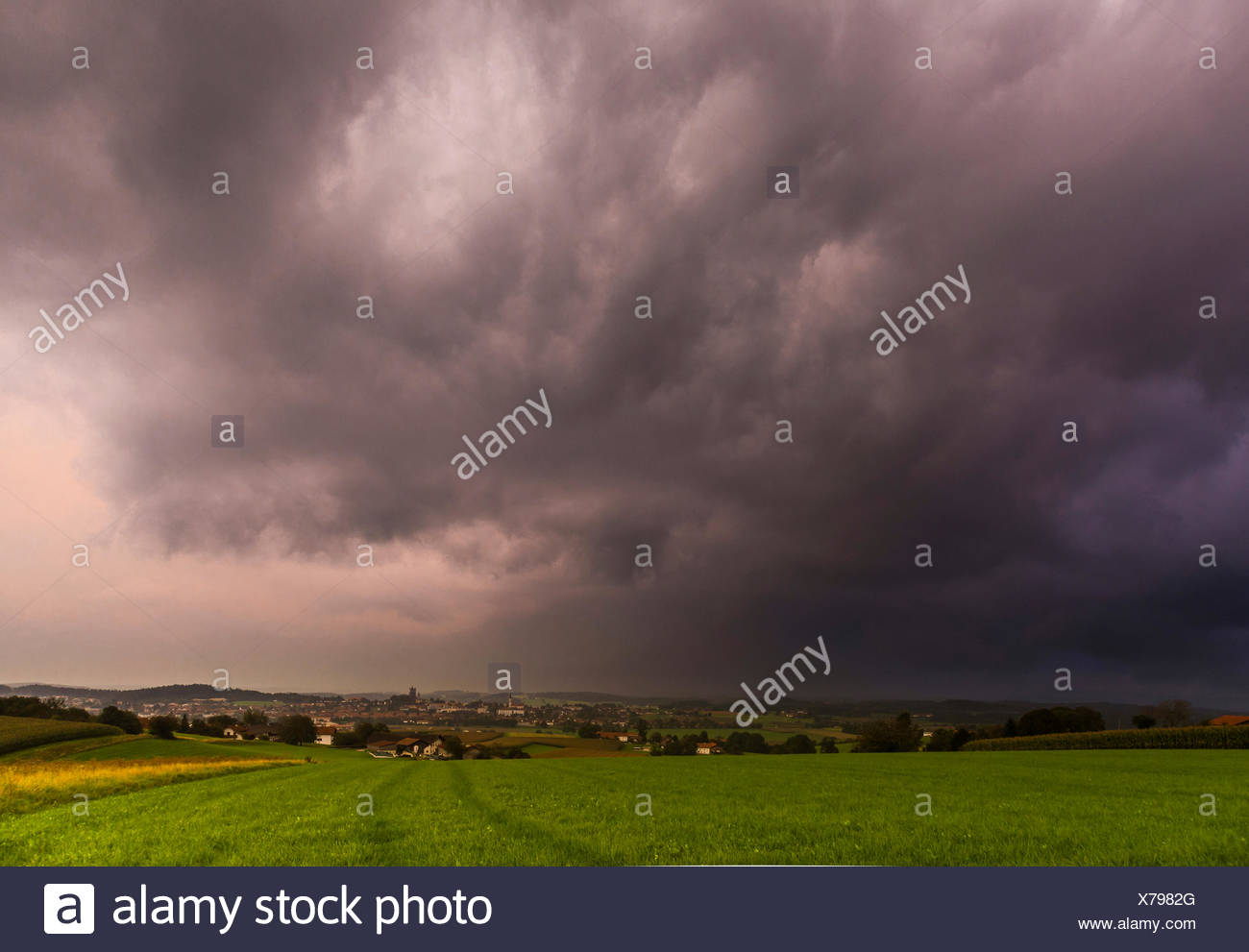 approaching storm front in the pre-Alps, Germany, Bavaria, Haag - Stock Image