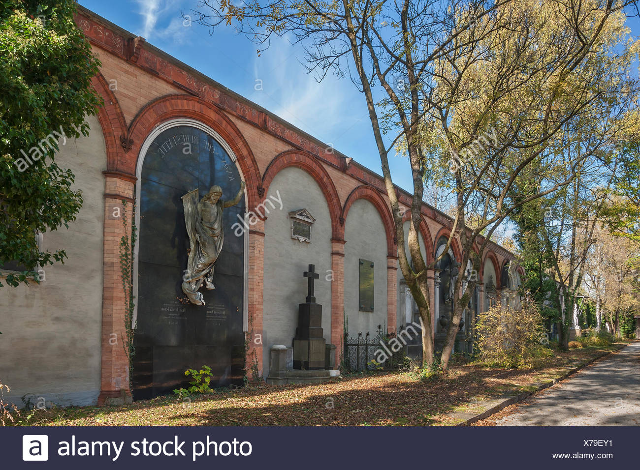 Gravesites at the Eastern Wall, Südfriedhof, Munich, Bavaria, Germany - Stock Image