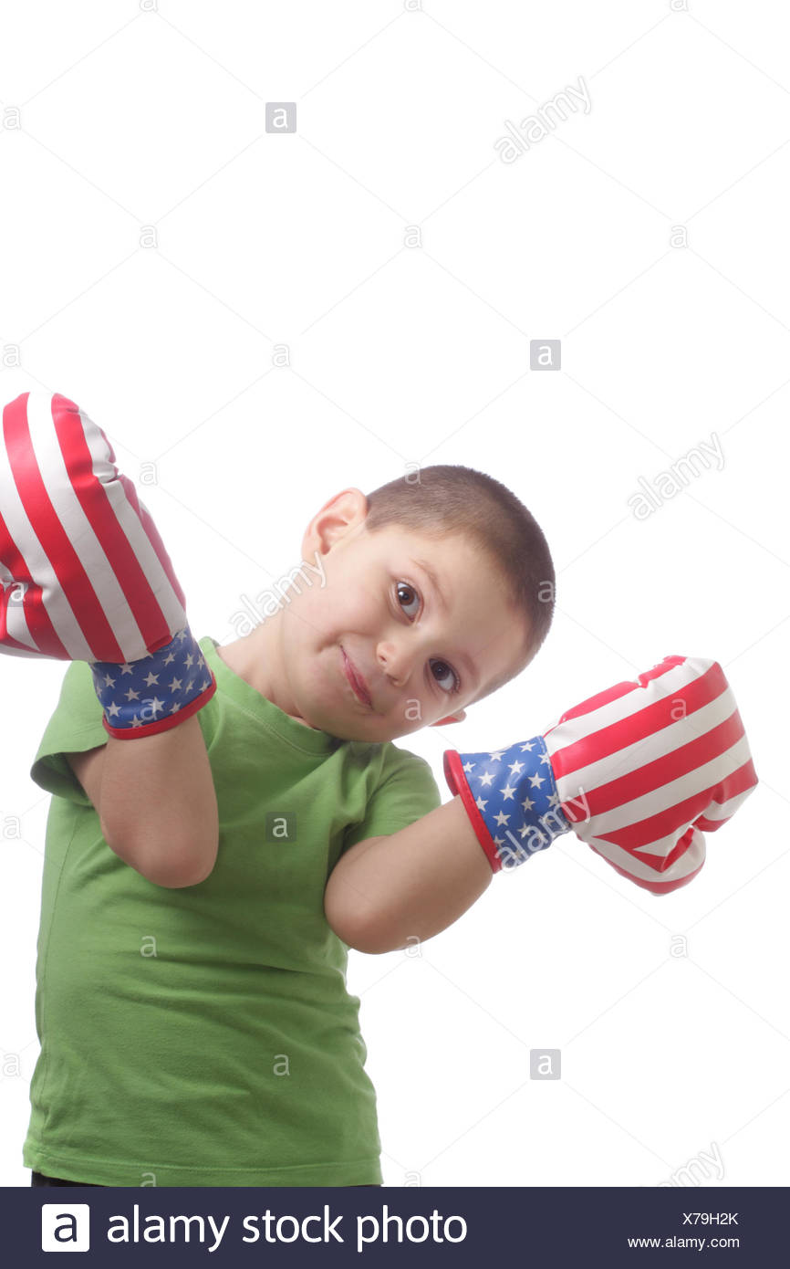 Amusing little boxer Stock Photo
