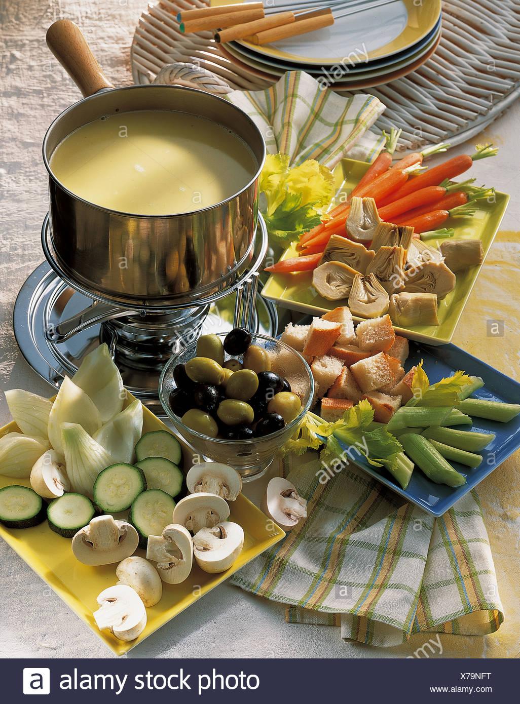 Classic bagna cauda, Italy, recipe available for a fee Stock Photo