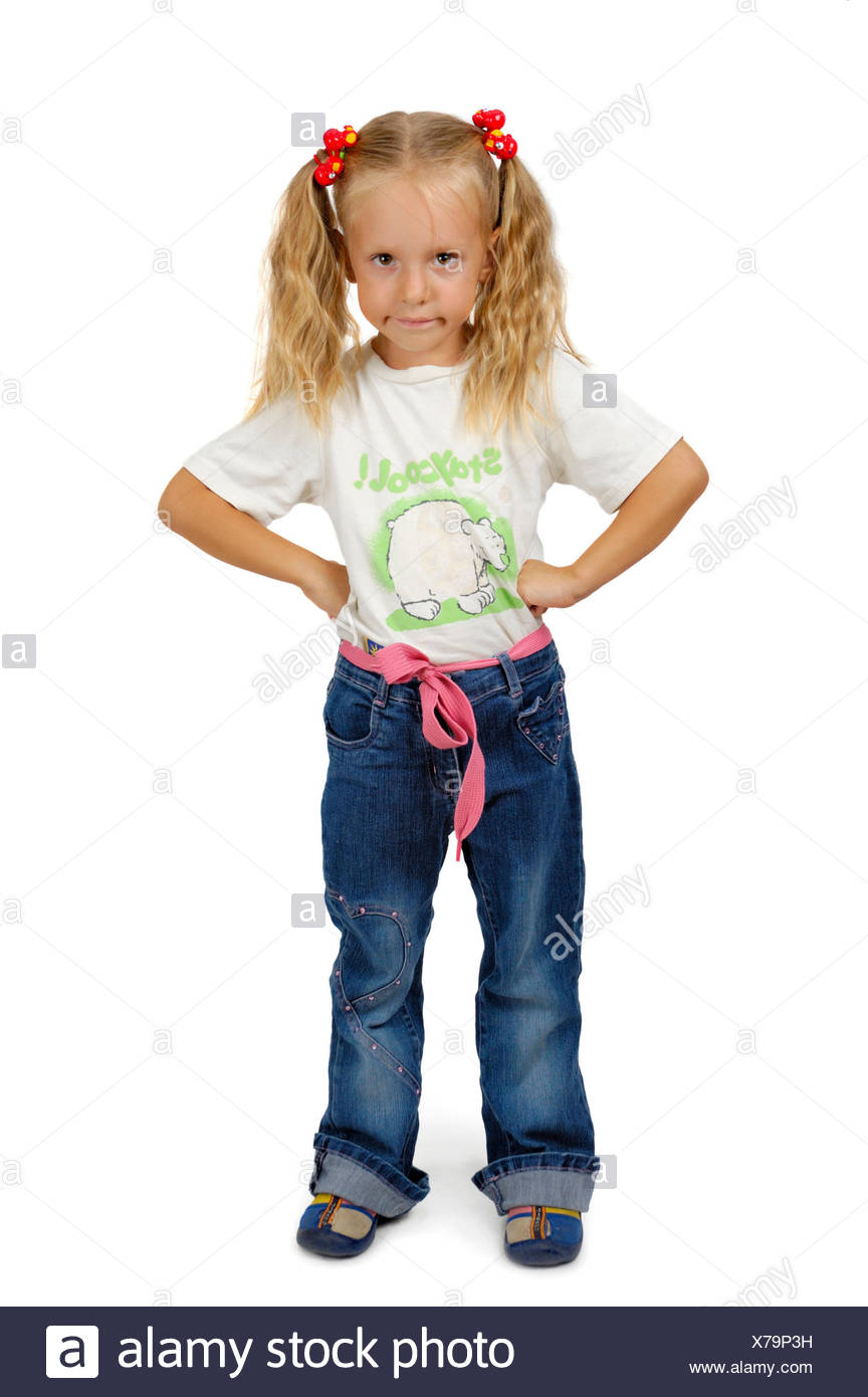 serious little girl with braids - Stock Image
