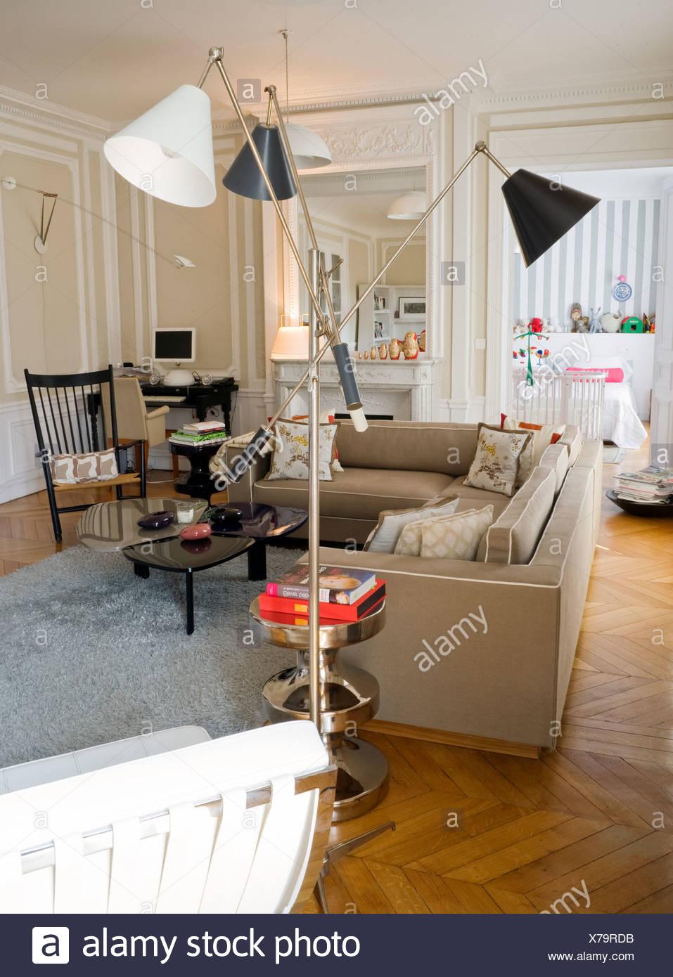 Home Of Shoe Designer, Maloles Miracosta Antignac, In Paris Living Room  Beige Corner Sofa By India Mahdavi, Polished Parquet