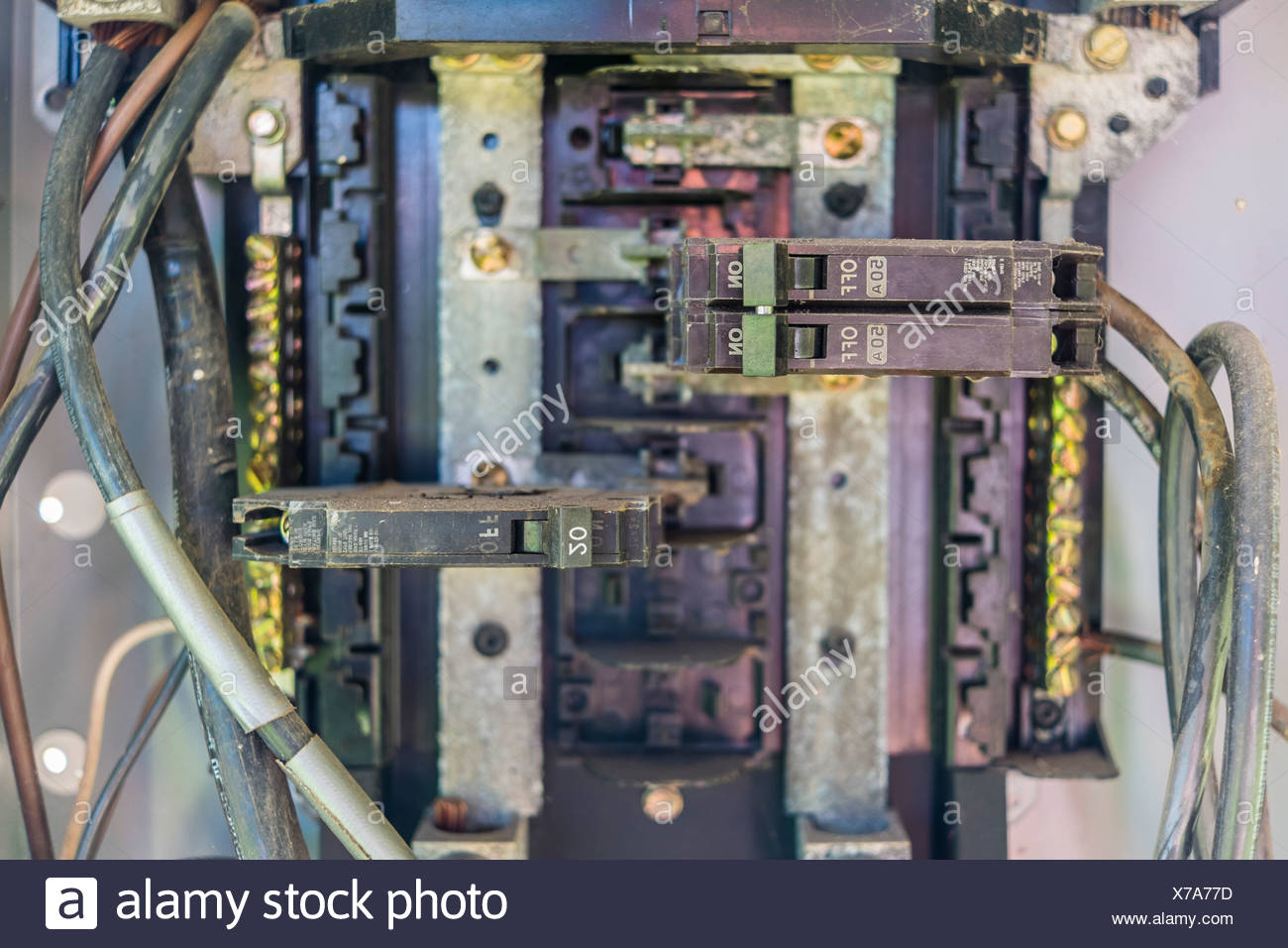 Breaker Box Stock Photos Images Alamy Outside Fuse Usa Texas Close Up Of Interior Outdoor Electrical Image