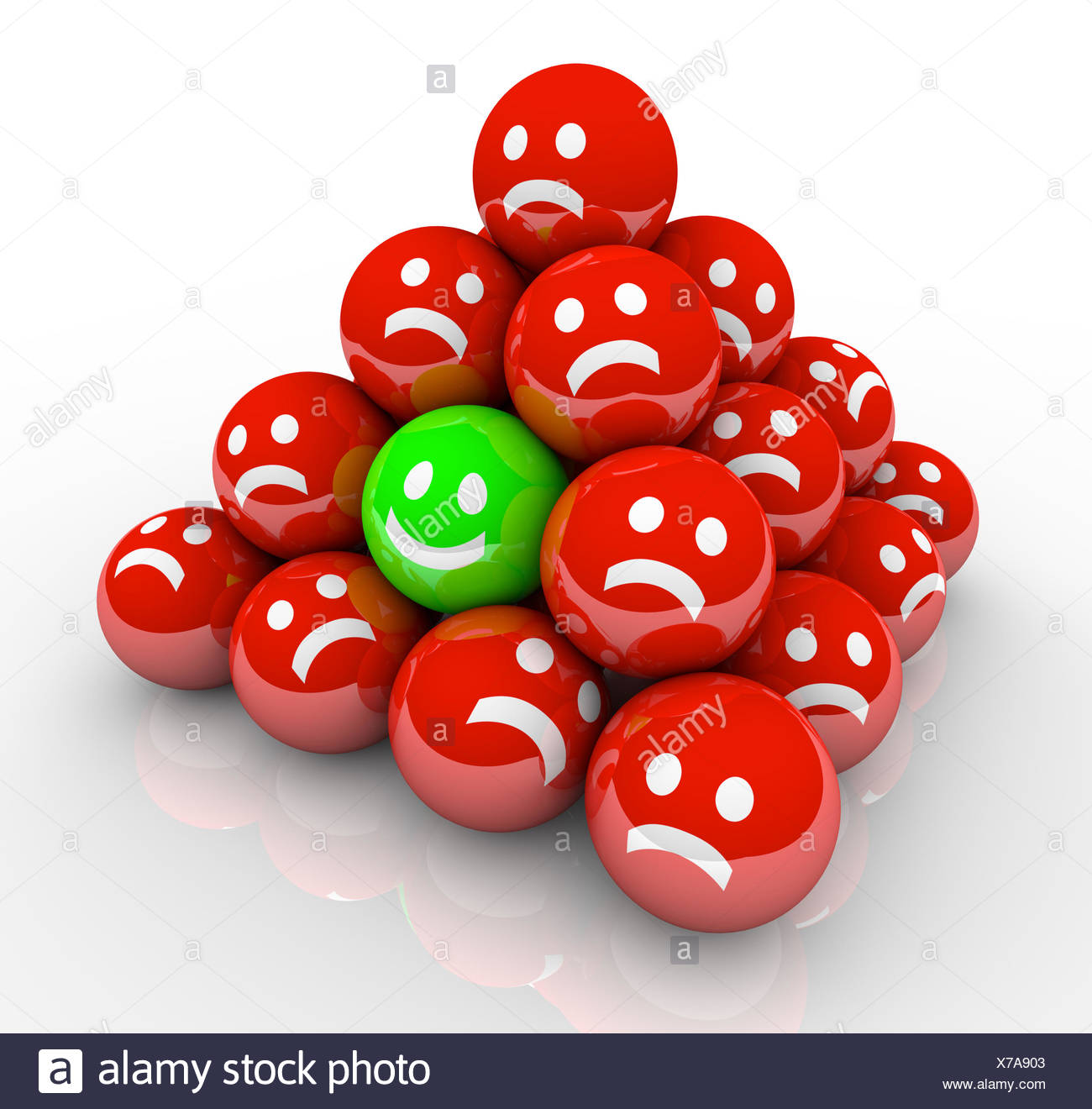 Happy Smile Face in Ball Pyramid of Sad Faces - Stock Image