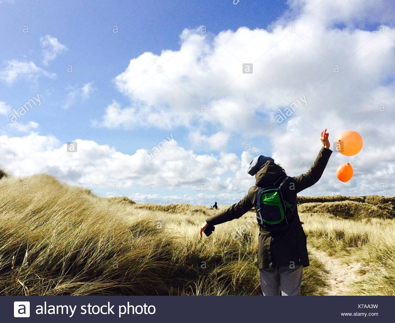 Rear View Of Girl Holding Orange Balloons On Field Against Cloudy Sky - Stock Image