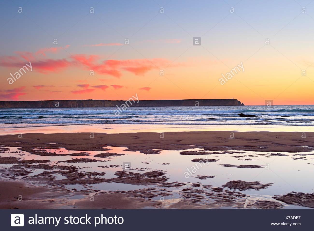 Varicolored ocean sunset, Portugal - Stock Image