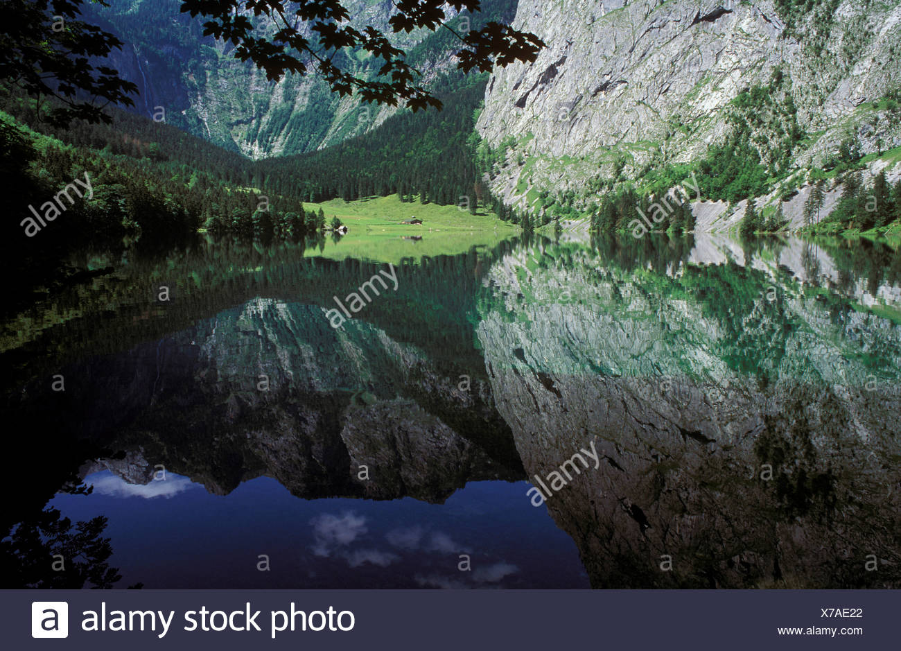 Lake Obersee, Nationalpark Berchtesgaden (Berchtesgaden National Park), Berchtesgadener Alpen (Berchtesgaden Alps), Oberbayern  Stock Photo