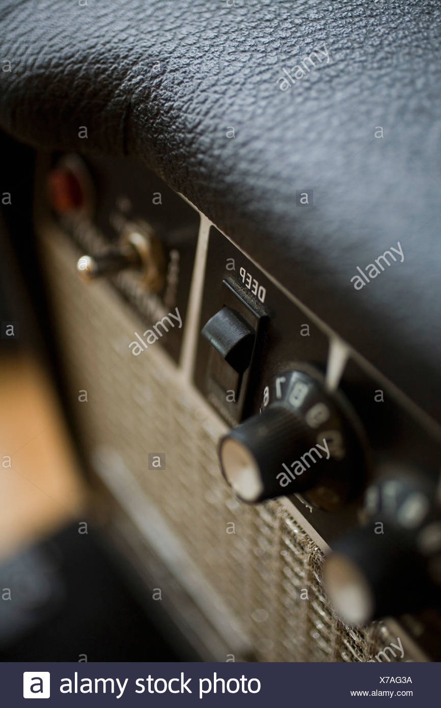 extreme Close-up angled shot of an amplifier - Stock Image