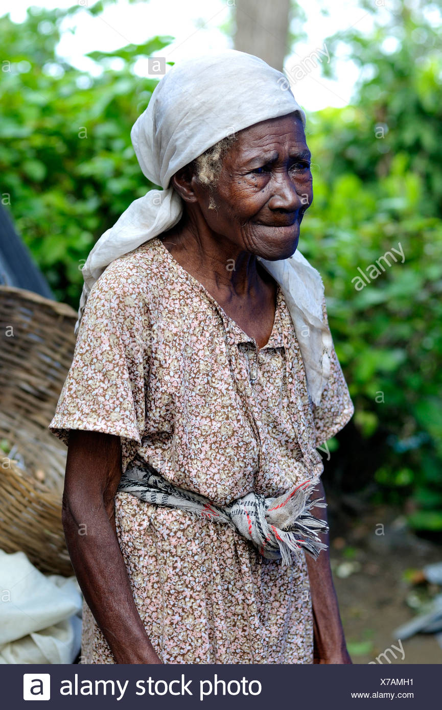 Old woman, Palmiste-a-vin near Leogane, Haiti, Caribbean, Central ...