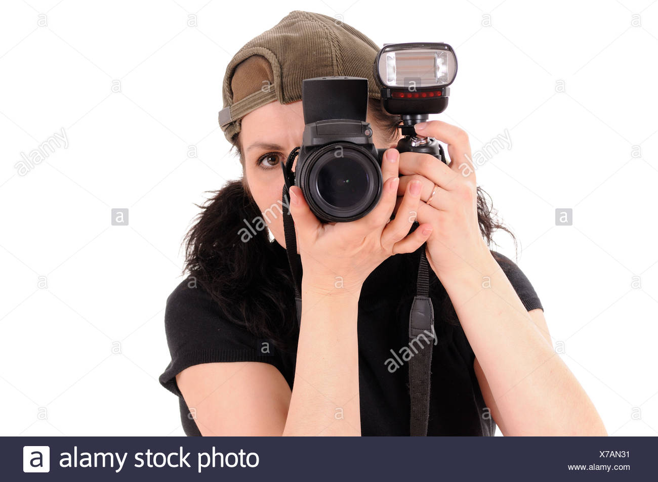 The woman the photographer is photographed close up - Stock Image