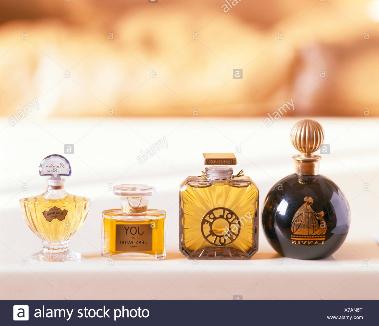 Close-up of vintage French perfume bottles - Stock Image