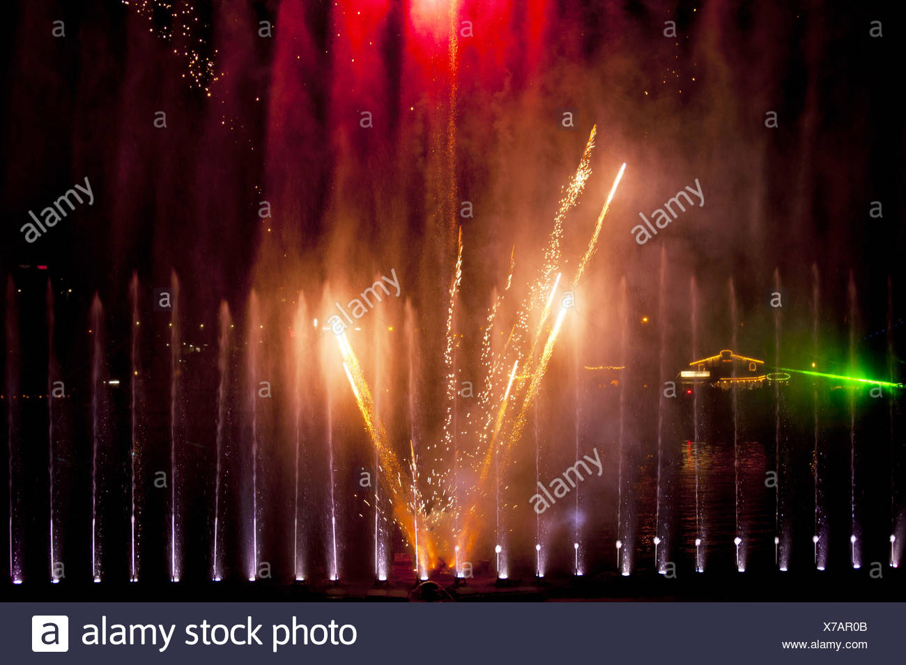 Water and Fire Spectacle - Stock Image