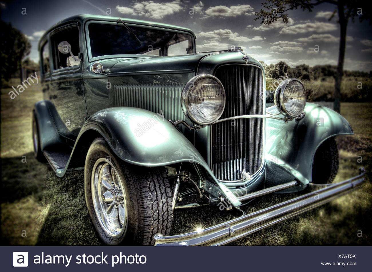 Custom car in the countryside - Stock Image