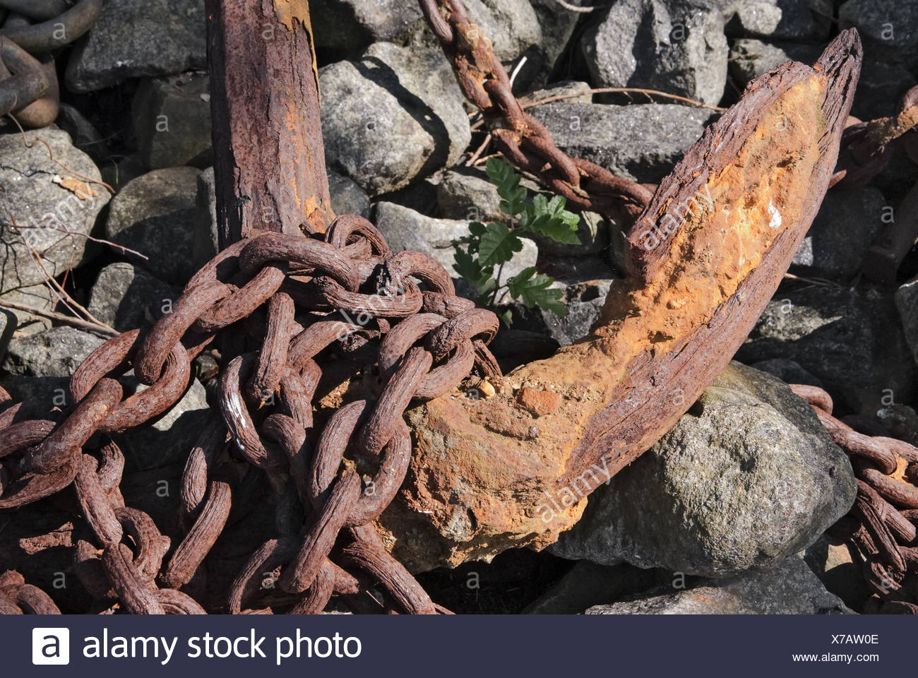 Rusty anchor and anchor chain Stock Photo